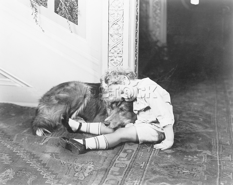 Little boy and his dog sleeping