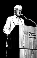 File Photo -  Holocaust survivor and writer Martin Gray speak at UQAM, June 23, 1985 .<br /> <br /> Photo : Pierre Roussel - Agence Quebec Presse