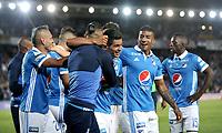 BOGOTA - COLOMBIA - 20 – 05 - 2017: Los jugadores de Millonarios, celebran el primer gol anotado Patriotas F.C., durante partido de la fecha 19 entre Millonarios y Patriotas F.C.,  por la Liga Aguila I-2017, jugado en el estadio Nemesio Camacho El Campin de la ciudad de Bogota. / The players of Millonarios celebrate the first scored goal to Patriotas F.C.,  during a match of the date 19th between Millonarios and Patriotas F.C., for the Liga Aguila I-2017 played at the Nemesio Camacho El Campin Stadium in Bogota city, Photo: VizzorImage / Luis Ramirez / Staff.