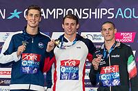 PROUDBenjamin GBR Gold Medal<br /> GKOLOMEEVKristian GREE Silver Medal<br /> VERGANIAndrea ITA Bronze Medal<br /> 50m Freestyle Men Final<br /> Glasgow 09/08/2018<br /> Swimming Tollcross International Swimming Centre<br /> LEN European Aquatics Championships 2018 <br /> European Championships 2018 <br /> Photo Giorgio Scala/ Deepbluemedia /Insidefoto