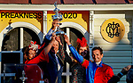 October 3, 2020: The McPeeks and Albarados house the winners trophy for the Preakness Stakes during Preakness Stakes Day at Pimlico Race Course in Baltimore, Maryland. Scott Serio/Eclipse Sportswire/CSM