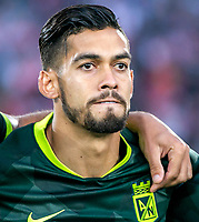 BOGOTA-COLOMBIA, 08-03-2020: Andres Andrade de Atletico Nacional durante partido entre Independiente Santa Fe y Atletico Nacional de la fecha 8 por la Liga BetPlay DIMAYOR 2020 jugado en el estadio Nemesio Camacho El Campin de la ciudad de Bogota. / Andres Andrade of Atletico Nacional during the match between Independiente Santa Fe and Atletico Nacional on date 6 for the BetPlay League DIMAYOR 2020 played at the Nemesio Camacho El Campin stadium in Bogota city. / Photo: VizzorImage / Daniel Garzon / Cont.