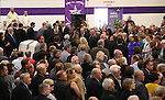 Hundreds of people watch the family arrive at the funeral of former Nevada Assembly Speaker Joe Dini on Tuesday, April 15, 2014, in Yerington, Nev. (Las Vegas Review-Journal/Cathleen Allison)