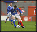 5/10/02       Copyright Pic : James Stewart                     .File Name : stewart-hamilton v stranraer 10.ALAN JENKINS AND CRAIG SMILLIE CHALLENGE FOR THE BALL....James Stewart Photo Agency, 19 Carronlea Drive, Falkirk. FK2 8DN      Vat Reg No. 607 6932 25.Office : +44 (0)1324 570906     .Mobile : + 44 (0)7721 416997.Fax     :  +44 (0)1324 570906.E-mail : jim@jspa.co.uk.If you require further information then contact Jim Stewart on any of the numbers above.........