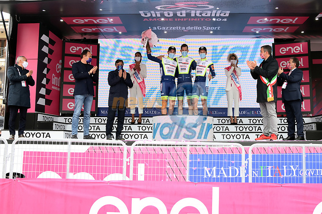 Intermarche-Wanty-Gobert-Materiaux team prize at the end of Stage 3 of the 2021 Giro d'Italia, running 190km from Biella to Canale, Italy. 10th May 2021.<br /> Picture: LaPresse/Gian Mattia D'Alberto   Cyclefile<br /> <br /> All photos usage must carry mandatory copyright credit (© Cyclefile   LaPresse/Gian Mattia D'Alberto)