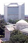 The Florida Supreme Court building (foreground) and the Florida Department of Education in downtown Tallahassee, Florida.  (Mark Wallheiser/TallahasseeStock.com)