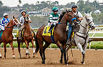 DEL MAR, CA  AUGUST 20:  #4 Edgeway, ridden by Joe Bravo, in the post parade of the Rancho Bernardo Handicap (Grade lll) on August 20, 2021 at Del Mar Thoroughbred Club in Del Mar, CA.  (Photo by Casey Phillips/Eclipse Sportswire/CSM)