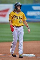 Brandon Marsh (23) of the Salt Lake Bees during the game against the Tacoma Rainiers at Smith's Ballpark on May 16, 2021 in Salt Lake City, Utah. The Bees defeated the Rainiers 8-7. (Stephen Smith/Four Seam Images)