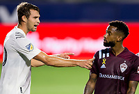 CARSON, CA - SEPTEMBER 19: Nicholas DePuy #20 of the Los Angeles Galaxy pushes Kellyn Acosta #10 of the Colorado Rapids during a game between Colorado Rapids and Los Angeles Galaxy at Dignity Heath Sports Park on September 19, 2020 in Carson, California.