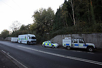 Pictured: South Wales Police officers at the scene where the body of 15 year old Rebecca Aylward was discovered. Monday 25 October 2010<br /> Re: South Wales Police are investigating the murder of 15 year old Rebecca Aylward from Maesteg in south Wales. Her body was discovered in woodlands outside Aberkenfig near Bridgend. Two fifteen year old men have been arrested.