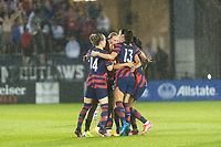 EAST HARTFORD, CT - JULY 1: Tobin Heath #7 of the United States celebrates scoring with teammates during a game between Mexico and USWNT at Rentschler Field on July 1, 2021 in East Hartford, Connecticut.