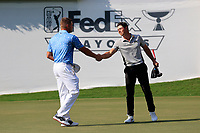 5th September 2021: Atlanta, Georgia, USA; Bryson DeChambeau (USA) shakes hands with Viktor Hovland (NOR) after the 4th and final round of the TOUR Championship  at the East Lake Club in Atlanta, Georgia.