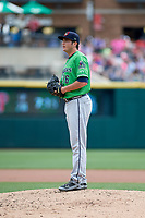 Gwinnett Stripers relief pitcher Luke Jackson (26) gets ready to deliver a pitch during a game against the Columbus Clippers on May 17, 2018 at Huntington Park in Columbus, Ohio.  Gwinnett defeated Columbus 6-0.  (Mike Janes/Four Seam Images)