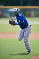 Toronto Blue Jays second baseman Hugo Cardona (4) during a Florida Instructional League game against the Pittsburgh Pirates on September 20, 2018 at the Englebert Complex in Dunedin, Florida.  (Mike Janes/Four Seam Images)