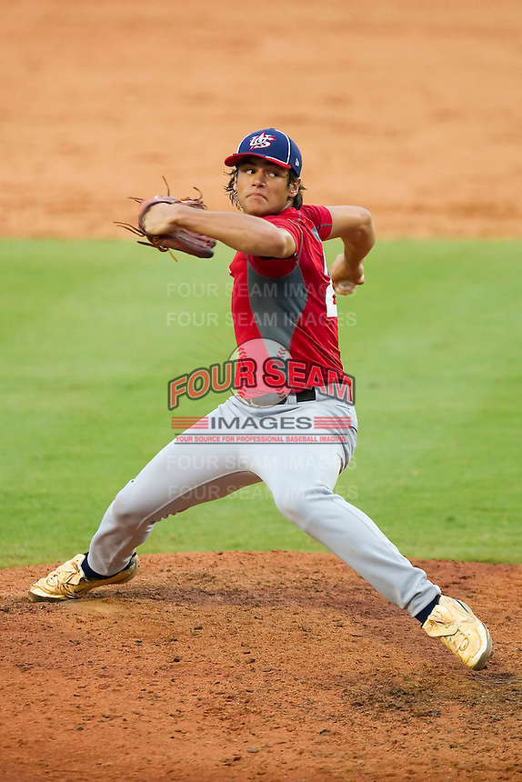 Lance McCullers #24 of Team Red in action against Team Blue during the USA Baseball 18U National Team Trials at the USA Baseball National Training Center on June 30, 2010, in Cary, North Carolina.  Photo by Brian Westerholt / Four Seam Images