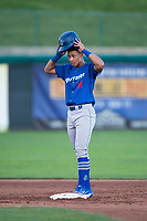 Ogden Raptors third baseman Marcus Chiu (13) stands on second base during a Pioneer League game against the Orem Owlz at Home of the OWLZ on August 24, 2018 in Orem, Utah. The Ogden Raptors defeated the Orem Owlz by a score of 13-5. (Zachary Lucy/Four Seam Images)