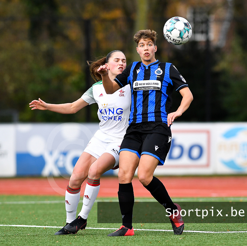 Isabelle Iliano (18 Brugge) pictured with OHL's Jill Janssens during a female soccer game between Club Brugge Dames YLA and Oud Heverlee Leuven on the 8 th matchday of the 2020 - 2021 season of Belgian Scooore Womens Super League , saturday 21 th November 2020  in Knokke , Belgium . PHOTO SPORTPIX.BE | SPP | DAVID CATRY