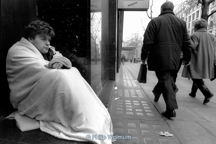 A homeless young man in a doorway in Kingsway, Central London.