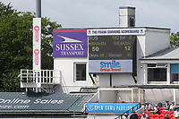 The scoreboard shows Daniel Ibrahim of Sussex has scored 50 not out during Sussex CCC vs Glamorgan CCC, LV Insurance County Championship Group 3 Cricket at The 1st Central County Ground on 5th July 2021