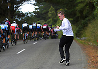 TVNZ reporter Dewi Preece on day one of the NZ Cycle Classic UCI Oceania Tour in Wairarapa, New Zealand on Wednesday, 15 January 2020. Photo: Dave Lintott / lintottphoto.co.nz