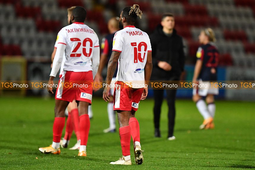 Dejected Femi Akinwande of Stevenage FC and Tyrone Marsh of Stevenage FC at the final whistle during Stevenage vs Bolton Wanderers, Sky Bet EFL League 2 Football at the Lamex Stadium on 21st November 2020