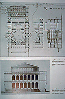 R. M. Hunt, 1851.Theater for a small ring. Preliminary causes final elevation.