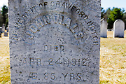 """Hermit of Crawford Notch (John Vials) gravestone at Straw Road Cemetery in Twin Mountain, New Hampshire USA. He died on April 24, 1912 and was known as """"English Jack"""". He lived in a shack at the """"Gate of the Notch"""" along the old Portland and Ogdensburg Railroad."""