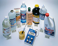 TESTING pH OF COMMON HOUSEHOLD PRODUCTS<br /> Digital pH Meter Used To Determine The pH Value<br /> Household acids and bases with their pH values displayed.
