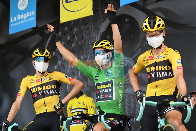 Robert Gesink (NED), Wout Van Aert (BEL) wearing the Green Jersey for his team mate race leader Primoz Roglic (SLO) who fails to start today after his injuries yesterday and Tony Martin (GER)  Team Jumbo-Visma at sign on before the start of Stage 5 of Criterium du Dauphine 2020, running 153.5km from Megeve to Megeve, France. 16th August 2020.<br /> Picture: ASO/Alex Broadway   Cyclefile<br /> All photos usage must carry mandatory copyright credit (© Cyclefile   ASO/Alex Broadway)