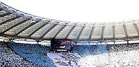 Calcio, Serie A: Lazio vs Roma. Roma, stadio Olimpico, 9 febbraio 2014.<br /> Lazio fans wave flags prior to the start of the Italian Serie A football match between Lazio and AS Roma at Rome's Olympic stadium, 9 February 2014.<br /> UPDATE IMAGES PRESS/Riccardo De Luca