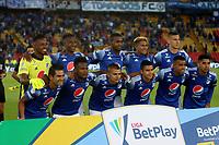 BOGOTÁ-COLOMBIA, 15-02-2020: Jugadores de Millonarios, posan para una foto, antes de durante partido entre Millonarios y Boyacá Chicó F.C. de la fecha 5 por la Liga BetPlay DIMAYOR 2020 jugado en el estadio Nemesio Camacho El Campín de la ciudad de Bogotá. / Players of Millonarios, pose for a photo, prior a match between Millonarios and Boyaca Chico F.C. of the 5th date for the BetPlay DIMAYOR Leguaje I 2020 played at the Nemesio Camacho El Campin Stadium in Bogota city. / Photo: VizzorImage / Luis Ramírez / Staff.