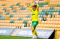 3rd October 2020; Carrow Road, Norwich, Norfolk, England, English Football League Championship Football, Norwich versus Derby; Max Aaron of Norwich City takes a throw in