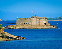 The Chateau (castle) du Taureau was built during the 16th century off the city of Carantec in the Bay of Morlaix to protect the area against English attacks, Atlantic Ocean, North of Brittany, North of France, Europe