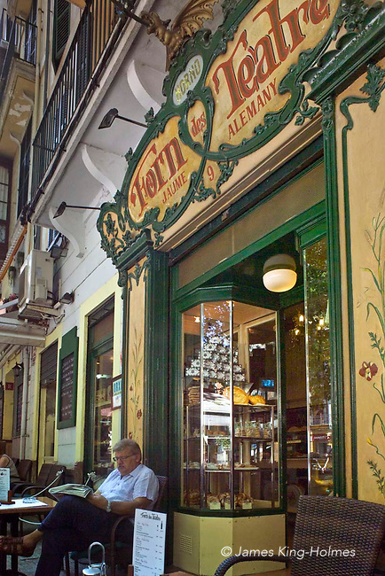 The façade of the Forn des Teatre bakery and pastry shop (now closed) in central Palma de Mallorca. The shop was founded in the 19th century but the present modernist exterior dates from 1916.