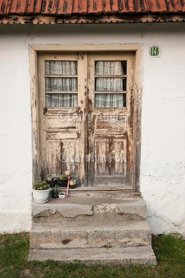 Door with plants, flowers, vegetables, Kremna, Serbia