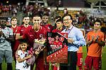 Chan Wai Ho of Hong Kong (L) poses for photos with Coach Kim Pan Gon of Hong Kong (R) after played the last match for Hong Kong during the International Friendly match between Hong Kong and Jordan at Mongkok Stadium on June 7, 2017 in Hong Kong, China. Photo by Cris Wong / Power Sport Images