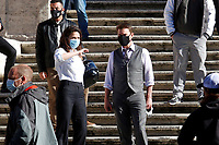 Actor Tom Cruise and actress Hayley Atwell on the Spanish steps on the set of the film Mission Impossible 7 at Spagna square, just under the Spanish steps.<br /> Rome (Italy), November 22nd 2020<br /> Photo Samantha Zucchi Insidefoto