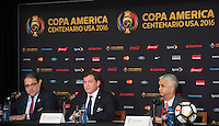 New York, NY - Friday June 24, 2016: CONMEBOL president Alejandro Dominguez, CONCACAF president Victor Montagliani, Copa America Local Organizing Committee chairman and U.S. Soccer President Sunil Gulati during a press conference prior to the final of the Copa America Centenario at The Westin New York at Times Square.<br /> <br /> Photo during American Cup USA 2016 Press Conference The Westin New York at Times Square --- Foto durante la Conferencia de Prensa previo a la Gran Final de la Copa America Centenario USA 2016, enla foto: Alejandro Dominguez, Presidente CONMEBOL, Victor Montagliani, Presidente CONCACAF, Sunil Gulati<br /> <br /> ---24/06/2016/MEXSPORT/ Jorge Martinez.