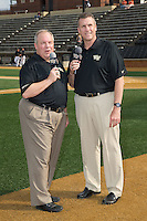 Steve Shutt (left) and Lary Sorensen handle the call of the game on Wake Forest All-Access as the Demon Deacons played host to the Clemson Tigers in ACC baseball action at David F. Couch Ballpark on March 12, 2016 in Winston-Salem, North Carolina.  The Tigers defeated the Demon Deacons 6-5.  (Brian Westerholt/Four Seam Images)