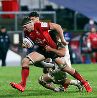 11 December 2020; Matty Rea is tackled by Selevasio Tolofua during the Heineken Champions Cup Pool B Round 1 match between Ulster and Toulouse at Kingspan Stadium in Belfast. Photo by John Dickson/Dicksondigital