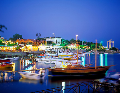 Turkey, Province Antalya, Side: holiday resort and harbour at Mediterranean Sea