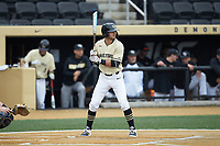 Patrick Frick (5) of the Wake Forest Demon Deacons at bat against the Notre Dame Fighting Irish at David F. Couch Ballpark on March 10, 2019 in  Winston-Salem, North Carolina. The Demon Deacons defeated the Fighting Irish 7-4 in game one of a double-header.  (Brian Westerholt/Four Seam Images)