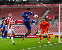 9th January 2021; Bet365 Stadium, Stoke, Staffordshire, England; English FA Cup Football, Carabao Cup, Stoke City versus Leicester City; Wesley Fofana of Leicester City attempts to stop a loose ball going out of play