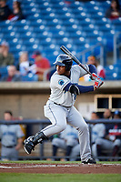 Lake County Captains first baseman Emmanuel Tapia (28) at bat during a game against the Quad Cities River Bandits on May 6, 2017 at Modern Woodmen Park in Davenport, Iowa.  Lake County defeated Quad Cities 13-3.  (Mike Janes/Four Seam Images)