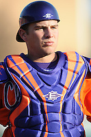 Clemson Tigers Catcher Spencer Kieboom during the opener of the 2011 season against the Eastern Michigan Eagles at Doug Kingsmore Stadium, Clemson, SC. Clemson won 14-3. Photo By Tony Farlow/Four Seam Images.