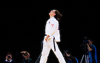 04 DEC 2011 - LONDON, GBR - Sally Conway (GBR) celebrates winning by Ippon in the final few seconds of the Golden Score round of her semi final contest against Laura Vargas Koch (GER) at the London International Judo Invitational and 2012 Olympic Games test event at the ExCel Exhibition Centre in London, Great Britain .(PHOTO (C) NIGEL FARROW)