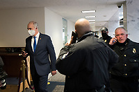 United States Senator Bob Casey, Jr. (Democrat of Pennsylvania) and other Senators evacuate to a safe place in the Dirksen Senate Office Building after Electoral votes being counted during a joint session of the United States Congress to certify the results of the 2020 presidential election in the US House of Representatives Chamber in the US Capitol in Washington, DC on Wednesday, January 6, 2021, as interrupted as thousands of pr-Trump protestors stormed the U.S. Capitol and the House chambers.  .<br /> Credit: Rod Lamkey / CNP/AdMedia