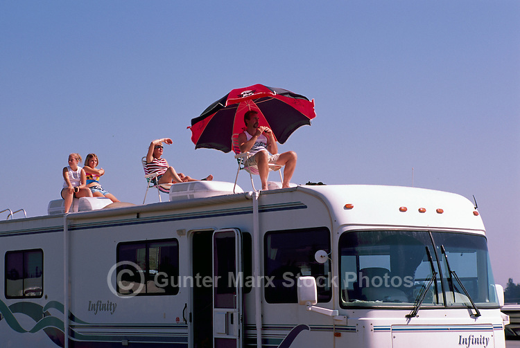 Spectators watching Air Show from Roof of Recreational Vehicle - at Abbotsford International Airshow, BC, British Columbia, Canada