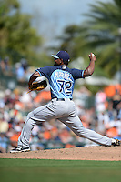 Tampa Bay Rays pitcher Jhan Marinez (72) during a Spring Training game against the Baltimore Orioles on March 14, 2015 at Ed Smith Stadium in Sarasota, Florida.  Tampa Bay defeated Baltimore 3-2.  (Mike Janes/Four Seam Images)