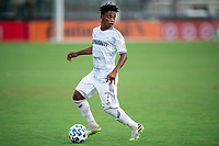 LAKE BUENA VISTA, FL - JULY 31: Latif Blessing #7 of LAFC dribbles the ball during a game between Orlando City SC and Los Angeles FC at ESPN Wide World of Sports on July 31, 2020 in Lake Buena Vista, Florida.